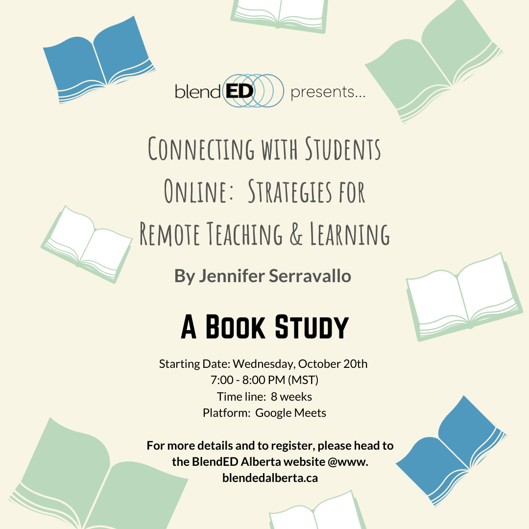 An advertisement for a book study being hosted by BlendED starting October 20th through Google Meets.